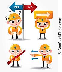 funny cartoon worker icon set with arrow board