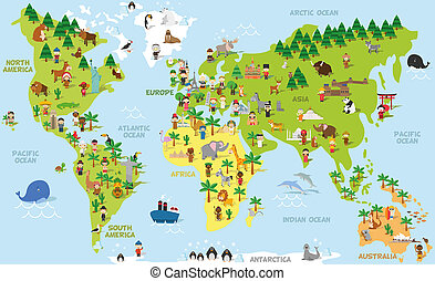 Funny cartoon world map with children of different...