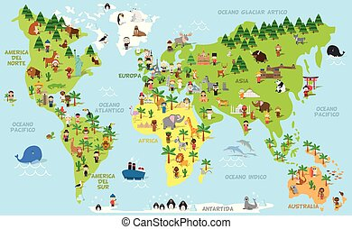 Funny cartoon world map with kids of different nationalities, animals and monuments of all the continents and oceans. Names in spanish.