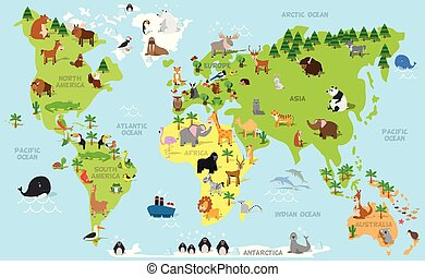 Funny cartoon world map with traditional animals of all the continents and oceans.