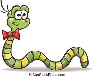 funny cartoon worm with a bowtie on the neck, vector, isolated on white