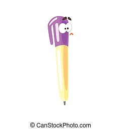 Funny cartoon yellow pencil comic character with purple cap, humanized paintbrush vector Illustration