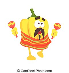 Funny cartoon yellow pepper character wearing poncho shaking...