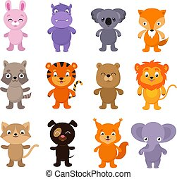 Funny cartoon young animals vector characters collection
