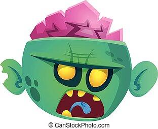 Funny cartoon zombie. Halloween vector illustration