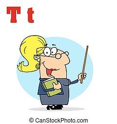 Female Teacher With Letters T - Funny Cartoons Alphabet-...