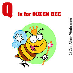 Funny Cartoons Alphabet with Text-Q - Queen Bee With Q Is ...