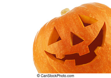 Halloween pumpkin - Funny carved Halloween pumpkin on white ...