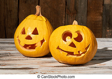 Funny carved Halloween pumpkins.