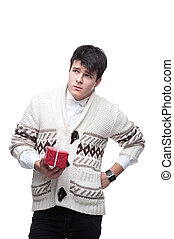 funny casual winter man holding christmas gift