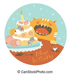 Funny cat and big cake with mouse