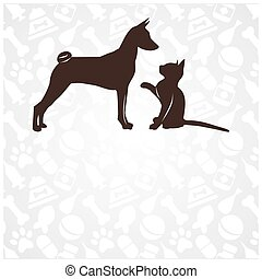 Funny cat and dog in the background zoo accessories. vector illustration