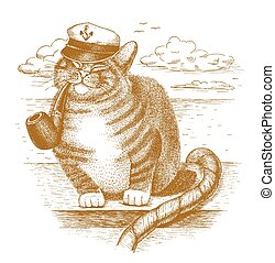 Funny cat captain drawn by hand