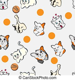 funny cat  cartoon pet seamless pattern,  kitty, happy cute kitten, doodle,with white background