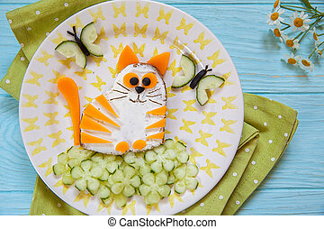 Funny cat cheese sandwich