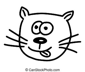 Funny Cat doodle. Hand drawn lines cartoon vector illustration isolated on white background.