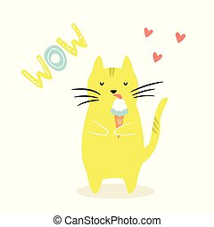 Funny cat eating ice. cream. Funny illustration