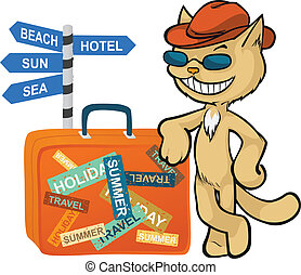Funny cat going to travel. - Funny cat in the hat going to...