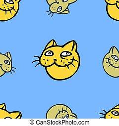 Funny cat head pattern. Vector illustration
