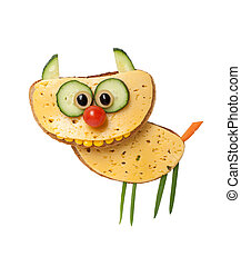 Funny cat made of bread and cheese on white background