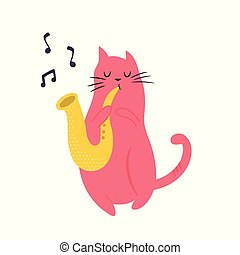 Funny cat playing saxophone. Vector illustration