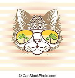 Funny cat portrait with cool sungl - Hand drawn portrait of ...