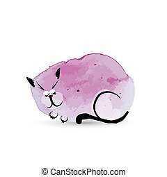 Funny cat sleeping. Watercolor sketch for your design