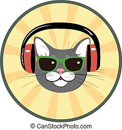 funny cat with headphones and sungl