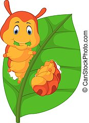 Funny caterpillar eating leaf - illustration of Funny...