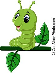 Funny caterpillar runs on a tree branch