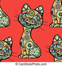 funny cats background - Seamless background of funny cats. ...