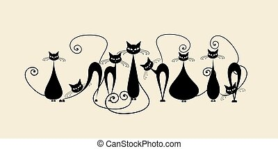 Funny cats family, black silhouette
