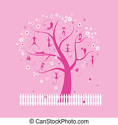 Funny cats on spring tree for your design