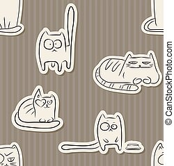 Funny cats seamless pattern