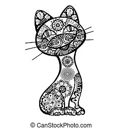 Vector funny cats with floral ornament. Vector illustration