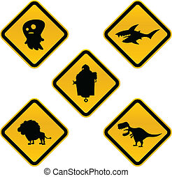 Funny Caution Signs - A set of funny cartoon crossing, ...