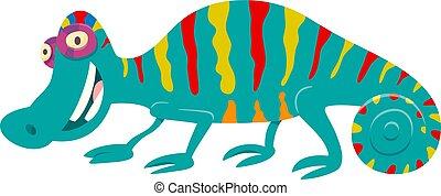 funny chameleon cartoon animal character