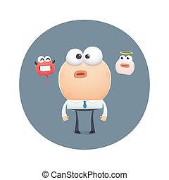 funny character choose between good and evil. cartoon...