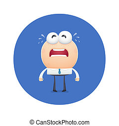funny character crying tears from his eyes. cartoon...