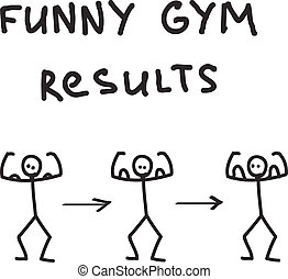 Funny character illustrated gym results. Eps 10 vector...