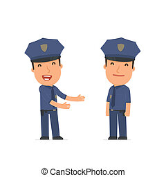 Funny Character Officer introduces his shy friend