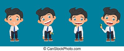 funny character with money. cheerful office worker
