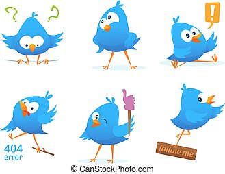 Funny characters of blue birds in action poses