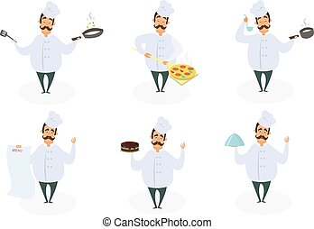 Funny characters of chef in action poses.