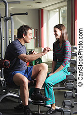 Funny chat in shade of gym