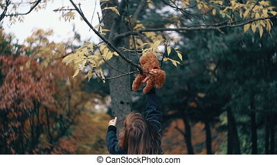funny, cheerful cute little girl playing with her teddy bear in the amazing autumn park slow motion