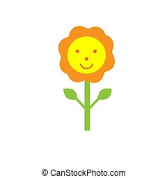 Funny cheerful drawn flower with face. Isolate on a white background.