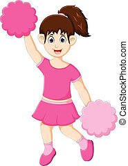 funny cheerleader cartoon posing with smile with actrion