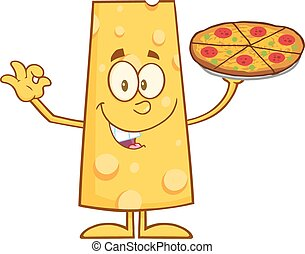 Funny Cheese Holding A Pizza