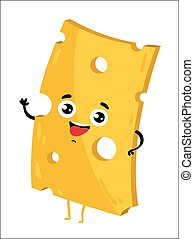 Funny cheese slice isolated cartoon character